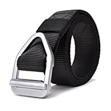 JasGood Men's Nylon Military Style Casual Army Outdoor Tactical Webbing Buckle Belt (Black)