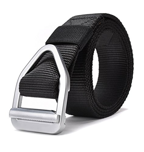 JasGood Men's Nylon Military Style Casual Army Outdoor Tactical Webbing Buckle Belt, Black (Nylon Belts For Men compare prices)