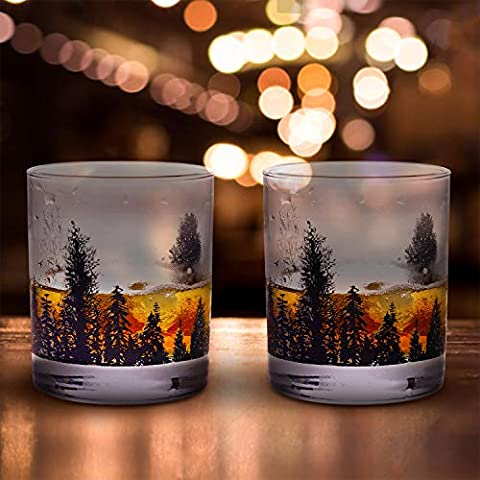 Bourbon Glasses TOOWELL Whiskey Glass Set of 2 Forest Landscape Handmade Heavy Base Lead-Free Scotch Tumblers 11OZ