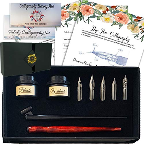 The Lettering Tribe Calligraphy Set For Beginners | Oblique Pen Holder + Wooden Calligraphy Pen + 5 Nibs + 2 India Ink + 2 Booklets | Caligraphy kits for beginners