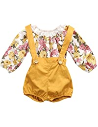 Baby Girls Floral Suspenders Pant Set Long Sleeve Romper + Short Overalls