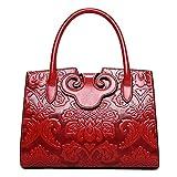 QZUnique Women's Chinese Style Empaistic PU Leather Zipper Closure Top Handle Crossbody Shoulder Bag