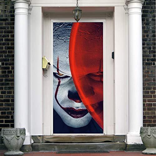 It Halloween Front Door Decor. Film Horrors Halloween Front Door Cover Mural. Happy Halloween Banner Decor for Entry Door. Holiday Decor Entry Door Cover PM2 -