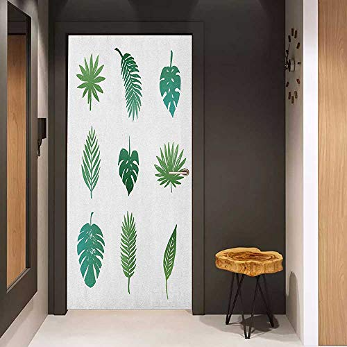 Onefzc Front Door Sticker Palm Tree Tropical Paradise Island Nature Theme Hand Drawn Collection Palm Foliage for Home Decor W38.5 x H77 Green and White