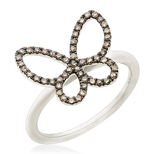 Goldenstar 0.26Ct Brown Natural Diamond Butterfly Ring, 14k White Gold, Size 9 ()