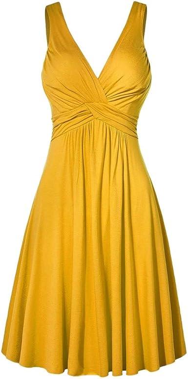 Reooly Vestido de Noche con Cuello en V XL Falda Acampanada ...