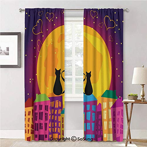 Custom Window Curtains for Bedroom,Cats on The