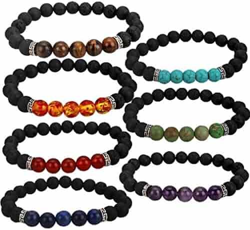 YISSION 7 Pack Gemstone Bracelet Natural Stones Stretch Bracelets Yoga Reiki Prayer Beads Lucky Bracelet