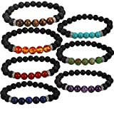 YISSION 7 Pack Gemstone Bracelet Natural Stones Stretch Bracelets Yoga Reiki Prayer Beads Lucky Bracelet