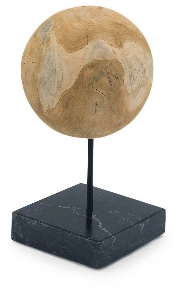 Round Teak Ball on Black Marble Base - Set Of 2