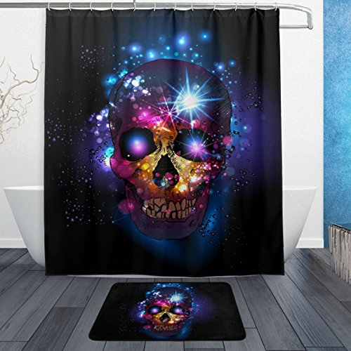 Fantastic Halloween Decor Sugar Skull Day of the Dead Waterproof Polyester Fabric Shower Curtain (60