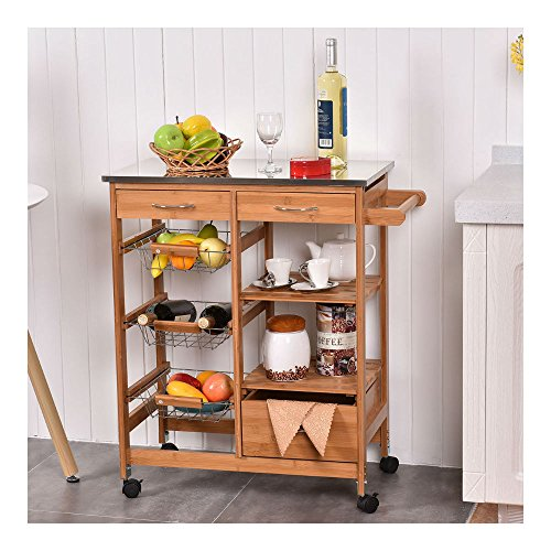 Bamboo Rolling Kitchen Island Trolley Cart Storage Shelf Drawers Basket Dining from Unknown