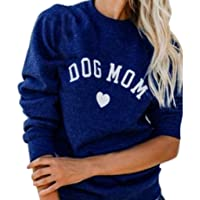 Fashion Women Pullover,Dog MOM Letters Printed Tops Plus Size Long Sleeve Splicing Sweatshirt Blouse