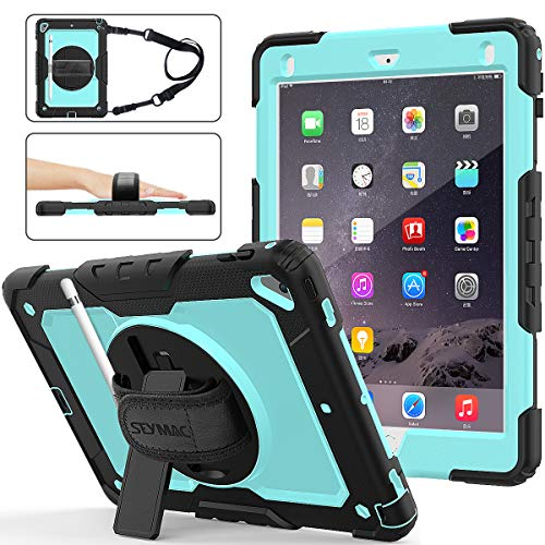 iPad 6th/5th Generation Case, New iPad 9.7 Inch 2018/2017 Case [Full-body] & [Shock Proof] Hybrid Armor Protective Case with 360 Rotating Stand & Strap for iPad 5th/6th/ Air 2/ Pro 9.7 (Skyblue+Black) (Ipad Otterbox Case)