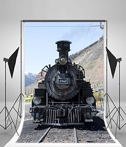 Shabby Ancient Railway Engine Photography Backdrop Vinyl Vintage Old Fashioned Steam Locomotive Photo Background For Adults Baby Portraits Party Decoration Shoot Booth Prop ()