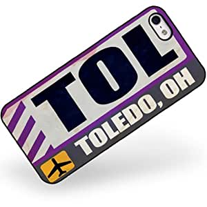 Rubber Case for iphone 5 5s Airportcode TOL Toledo, OH - Neonblond
