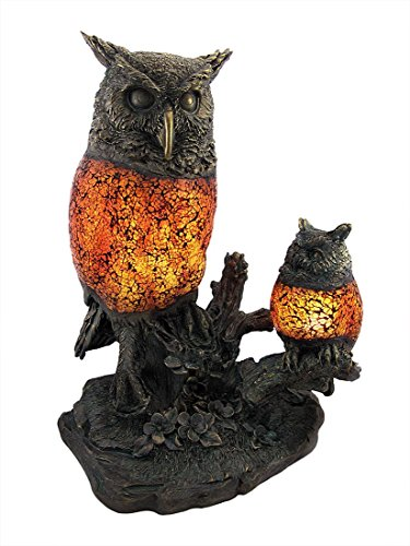 Crackle Glass Accent Lamp (Brown and Amber Crackle Glass Double Owl Accent)