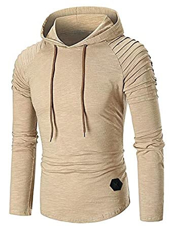 95f062b2 Image Unavailable. Image not available for. Color: EbuyChX Pleated Raglan Sleeve  Hem Curved Hooded T-Shirt ...