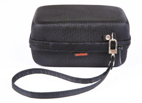 Navitech Black Sleek Premium Water Resistant Shock Absorbent Carry Bag Case & Mini USB In Car Cigarette Charger For Garmin Nuvi -