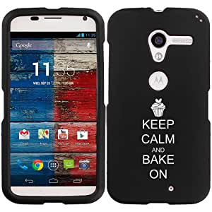Motorola MOTO X Snap On 2 Piece Rubber Hard Case Cover Keep Calm and Bake On Cupcake (Black)