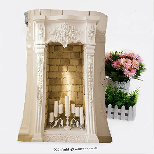 VROSELV Cotton Microfiber Bathroom Bath Towel-white decorative fireplace with candles Custom pattern of household products(19.7''x39.4'') by VROSELV