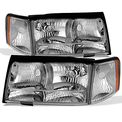 1997 1998 1999 Cadillac Deville Left + Right Side Headlights & Parking Corner Lights Assembly Set