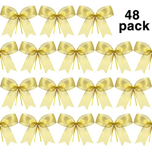 Sumind Christmas Bow Ribbon Bow for Christmas Tree Christmas Wreath Gift Decoration 48 Pieces