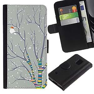 iKiki Tech / Cartera Funda Carcasa - Christmas Rainbow Snow Bird - Samsung Galaxy S5 SM-G900