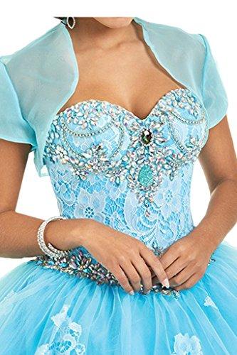 Promgirl House Damen Herz-Ausschnitt Prinzessin Spitze Strass Ballkleid Quinceanera Kleider mit Bolero Lang