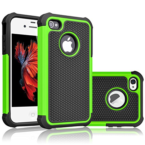 iPhone 5S Case, iPhone SE Case, Tekcoo(TM) [Tmajor Series] [Green/Black] iPhone 5 5S SE 5SE Case Shock Absorbing Hybrid Defender Rugged Cover Skin Shell Hard Plastic Outer & Rubber Silicone Inner
