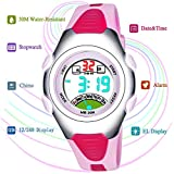Very Sweet Children Boys Girls Digital Waterproof Luminous Watches with Alarm Chronograph Date - Pink