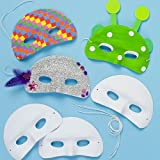 Baker Ross Flocked Plastic Eye Masks for Children to Paint Decorate and & Wear as a Part of a Costume at a Fancy Dress Party (Pack of 8)