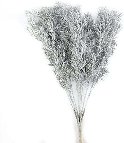 Factory Direct Craft Sparkling Silver Glittered Twig Spray for Holiday and Home Decor
