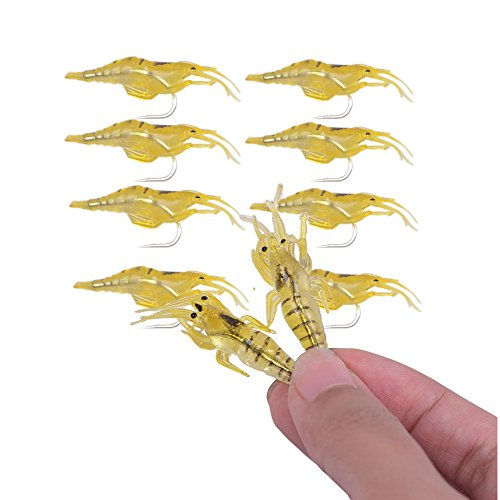 Agepoch 10pcs Soft Shrimp Prawn Artificial Sea Bionic Fishing Lure Baits with Single Hook Yellow 4cm/1.5g Fishing Tackle Saltwater for Bream Bass Flathead Whiting Snapper