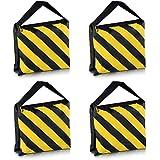Neewer Set of Four Black/Yellow Heavy Duty Sand Bag Photography Studio Video Stage Film Sandbag Saddlebag for Light Stands Boom Arms Tripods
