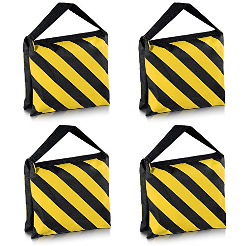 Neewer Set of Four Black/Yellow Heavy Duty Sand Bag Photography Studio Video Stage Film Sandbag Saddlebag for Light Stands Boom Arms Tripods