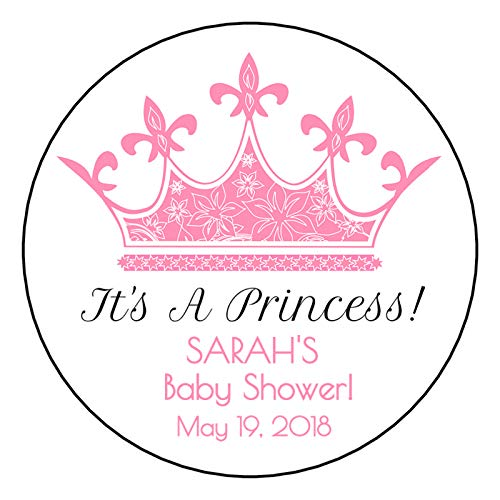 (12 Personalized Princess Baby Shower Stickers, labels, it's a princess, crown)