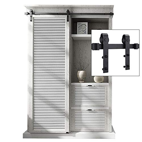 EaseLife 5 FT Cabinet Mini Sliding Barn Door Hardware Kit - Ultra Sturdy | Heavy Duty | Slide Smooth Quiet | Apply for Wardrobe Window TV Stand Closet | 5FT Track Single Door Kit