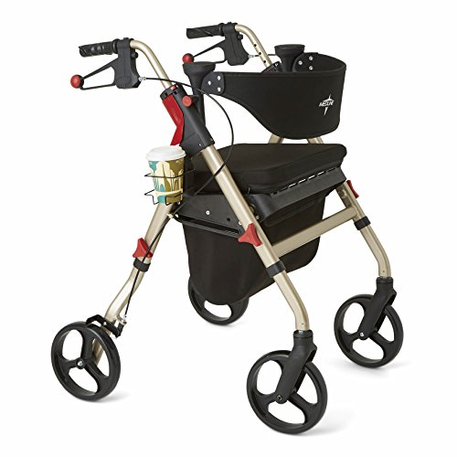(Medline Premium Empower Rollator Walker with Seat, Folding Rolling Walker with 8-inch Wheels, Champagne )