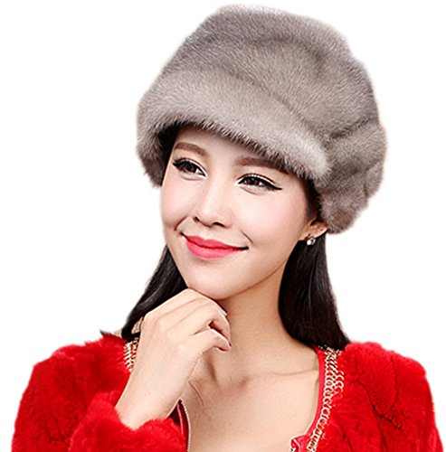 YR Lover Women's Warm Earmuffs Mink Fur Peaked Cap Cute Beret Caps
