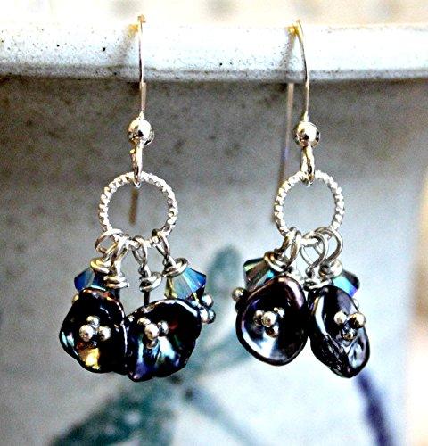Keshi Pearl Earrings Sterling with Swarovski, Petal Pearl Earrings, Floral, Peacock Blue, Summer Earrings Swarovski Petals