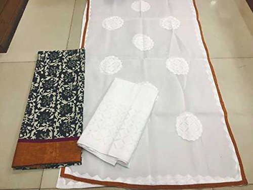 Block print cotton dress material with applique work dupatta: amazon