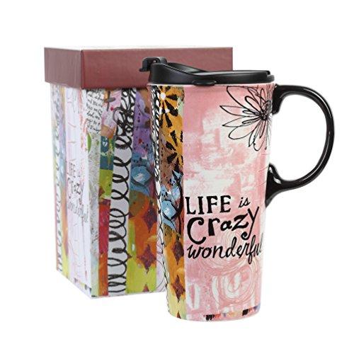 17oz Tall Ceramic Travel Mug Dishwasher Safe with Sealed Lid (Life is crazy wonderful)