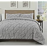 Master 2 Piece TWIN Size Pich Pleat Comforter Set Light Grey Color - Decorative Pintuck Bed Cover Set for all Season by Cozy Beddings
