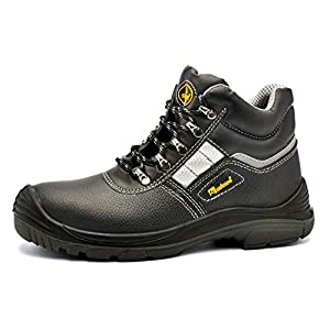 SAFETOE Men Steel Toe Cap 8027 Safety Shoes Water Resistant Lightweight Lace Up Leather Boots