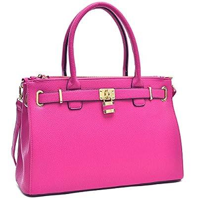 Dasein Womens Top Handle Satchel Handbags Tote Purse Padlock Shoulder Bag