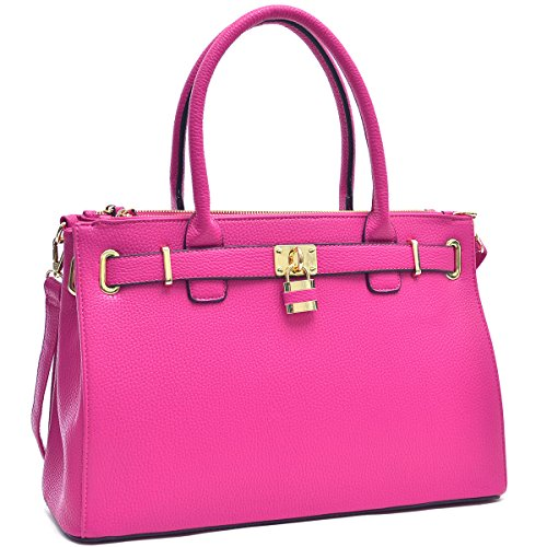 Dasein Women's New Padlock Top Handle Satchel Shoulder Bag Handbag Designer Purse- (Boot Top Purse)