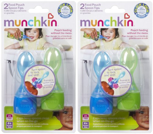 Munchkin Click Lock Food Pouch Spoon Tips - 2 Ea colors may vary