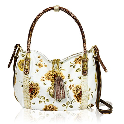 7f86bc591f Marino Orlandi Italian Designer White Handpainted Roses Leather Large  Handbag