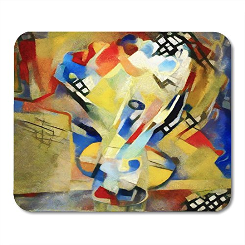 Boszina Mouse pad Floral Bouquet Abstraction in The Modern of Style Kandinsky Executed Oil on Canvas with Pastel Painting Office Supplies mouses pad 9.5x7.9 Inches Mousepad